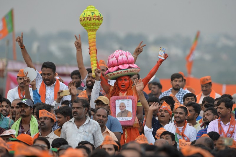 Bharatiya Janata Party supporters take part in an campaign rally in Bangalore on May 3. (Manjunath Kiran/AFP/Getty Images)