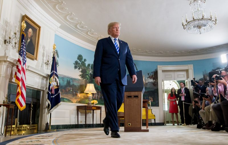 U.S. President Donald Trump in the White House after announcing his decision to leave the Iran nuclear deal on May 8. (Saul Loeb/AFP/Getty Images)