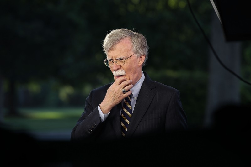 National Security Adviser John Bolton speaks on a morning television show from the grounds of the White House, on May 9, 2018. (Mark Wilson/Getty Images)