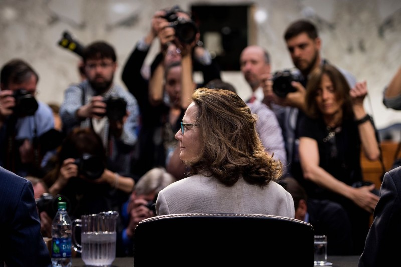 CIA Director nominee Gina Haspel waits for her confirmation hearing before the Senate Intelligence Committee on Capitol Hill in Washington on May 9. (Brendan Smialowski/AFP/Getty Images)