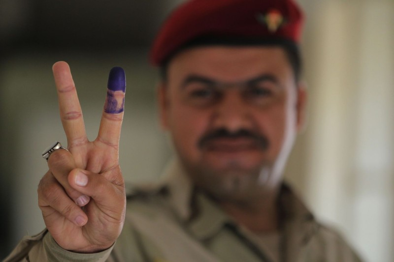 A member of the Iraqi security forces after voting in Baghdad on May 10. (Ahmad al-Rubaye/AFP/Getty Images)