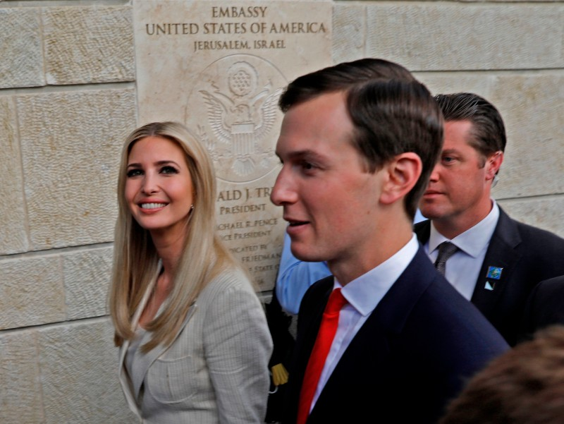 US President's daughter Ivanka Trump and her husband Senior White House Advisor Jared Kushner are seen during the opening of the US embassy in Jerusalem on May 14, 2018. (MENAHEM KAHANA/AFP/Getty Images)