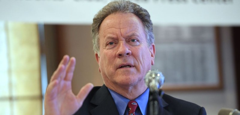 David Beasley, the executive director of the World Food Program, briefs reporters in Seoul, South Korea, on May 15 on his visit to North Korea. (Jung Yeon-je/AFP/Getty Images)