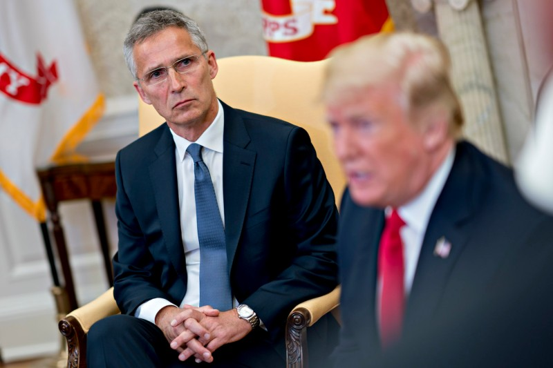 NATO Secretary General Jens Stoltenberg, listens as U.S. President Donald Trump speaks during a meeting at the White House in Washington, D.C. on May 17, 2018. (Andrew Harrer-Pool/Getty Images)