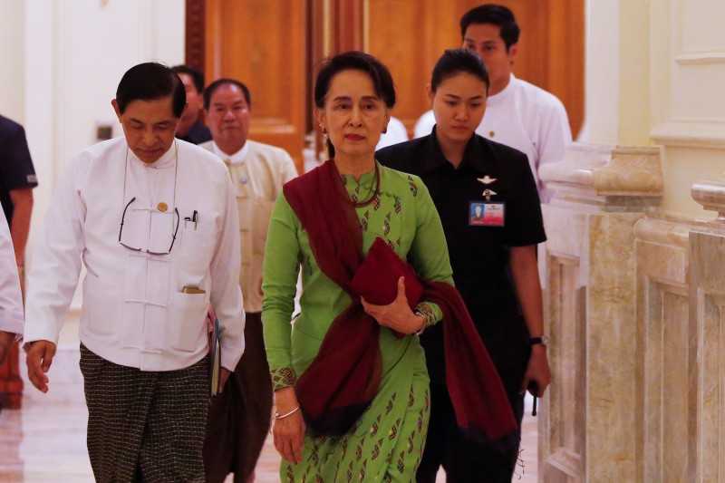 Myanmar State Counsellor Aung San Suu Kyi in Naypyidaw, Myanmar's capital, on May 22. (That Aung/AFP/Getty Images)