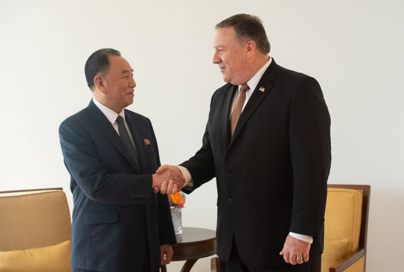 North Korean Gen. Kim Yong Chol meets U.S. Secretary of State Mike Pompeo on May 31 in New York. (Bryan R. Smith/AFP/Getty Images)