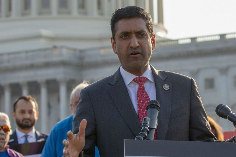 Rep Ro Khanna (D-CA) speaks at a rally on April 11, 2018 in Washington, DC. (Tasos Katopodis/Getty Images for MoveOn.org)