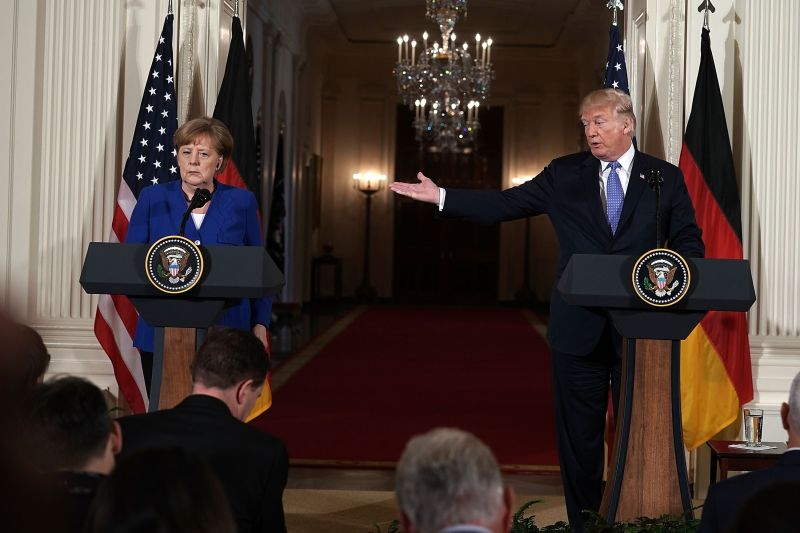 U.S. President Donald Trump (R) and German Chancellor Angela Merkel (L) hold a joint news conference at the White House on April 27. (Photo by Alex Wong/Getty Images)