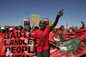 About 1,000 members of the Landless Peoples Movement of South Africa march on to the National Land Summit in Johannesburg on July 27, 2005.