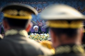 Iran's President Hassan Rouhani oversees an April 18 ceremony marking National Army Day in Tehran.