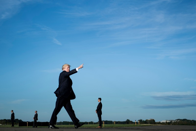 U.S. President Donald Trump walks towards Air Force One in Morristown, New Jersey, on September 22, 2017. (BRENDAN SMIALOWSKI/AFP/Getty Images)
