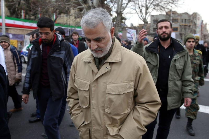 The commander of the Iranian Revolutionary Guard's Quds Force, General Qassem Suleimani, attends celebrations marking the 37th anniversary of the Islamic revolution on February 11, 2016 in Tehran.