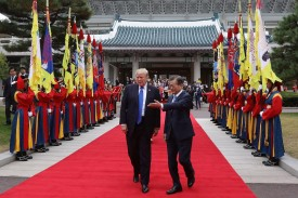 South Korean President Moon Jae-In and U.S. President Donald Trump    at the presidential Blue House on November 7, 2017 in Seoul, South Korea.