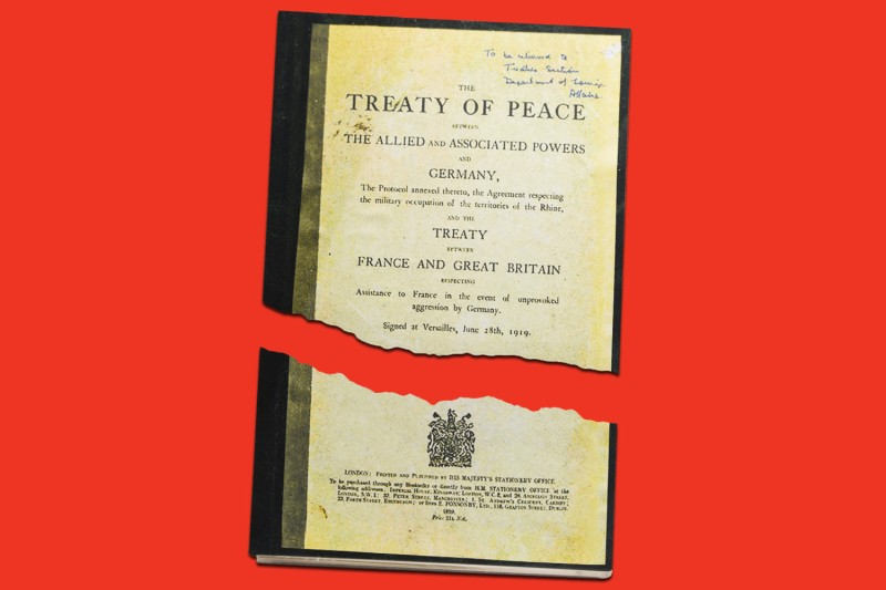 A copy of the original Versailles Peace Treaty of Peace signed on June 28, 1919. (Artur Widak/NurPhoto via Getty Images/Foreign Policy Illustration)