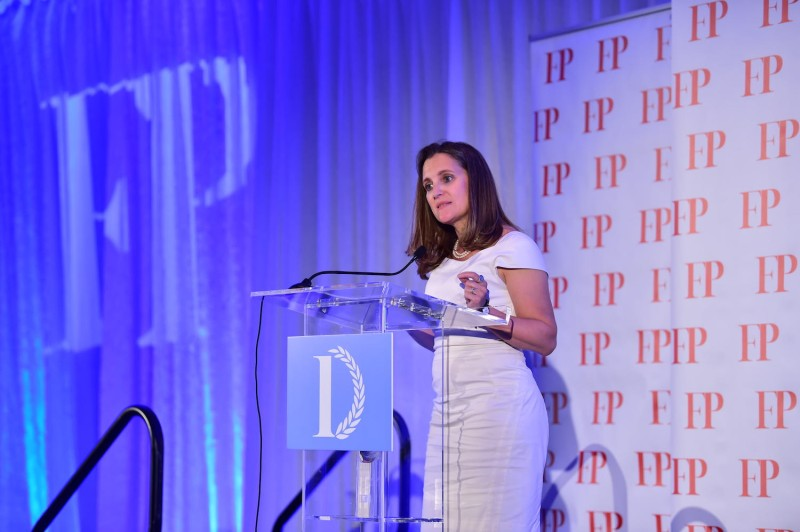 Canadian Foreign Minister Chrystia Freeland speaks at Foreign Policy's Diplomat of the Year awards ceremony in Washington on June 13.