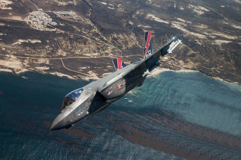 An F-35A gets ready to drop a weapon over the Sea Test Range in Point Mugu, California, on Aug. 12, 2016. (Chad Bellay/Lockheed Martin)