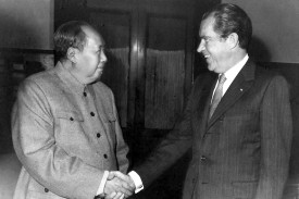 China's Chairman Mao Zedong met U.S. President Richard Nixon in Beijing on Feb. 21, 1972.