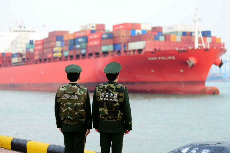 A cargo ship at a port in Qingdao, China on March 8. (AFP/Getty Images)
