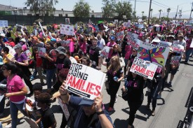 Protestors demonstrate against family separation outside the Otay Mesa Detention Center in San Diego, California, on June 23. (Robyn Beck/AFP/Getty Images)