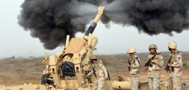 Saudi Army artillery fire shells toward Yemen from southwestern Saudi Arabia on April 13, 2015. (Fayez Nureldine/AFP/Getty Images)