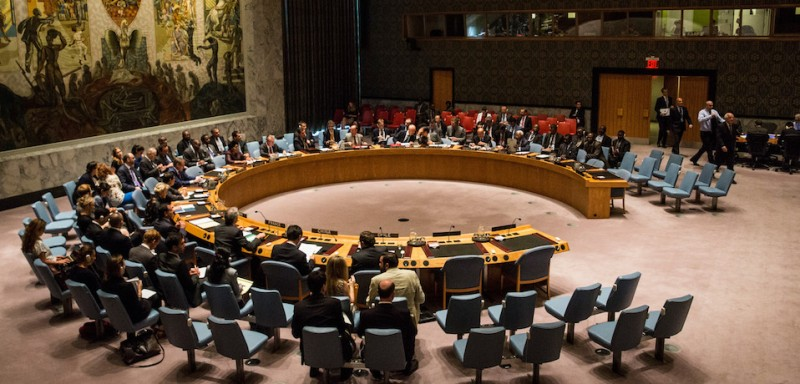 The United Nations Security Council meets on August 19, 2015 in New York City. (Photo credit: Andrew Burton/Getty Images)