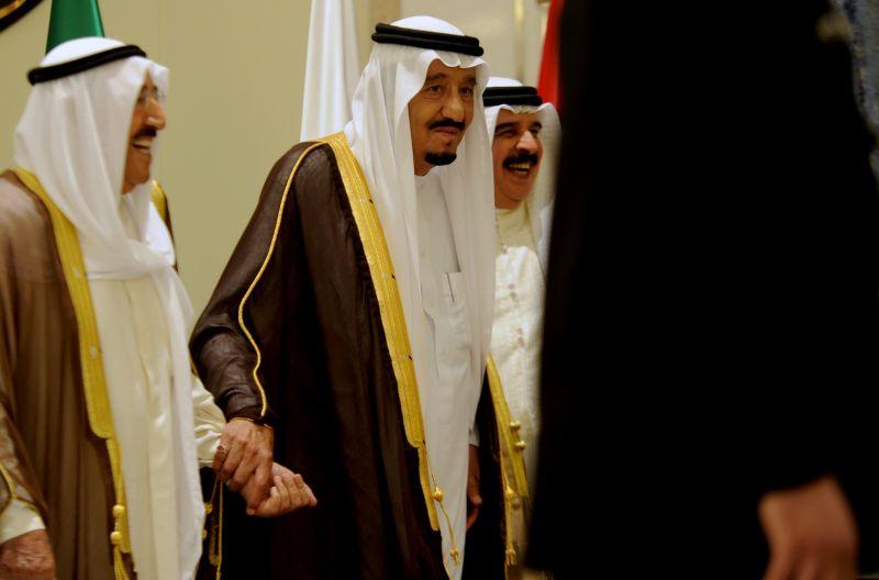Saudi King Salman bin Abdulaziz (C), Bahrain's King Hamad bin Issa al-Khalifa (R) and Emir of Kuwait Sheikh Sabah al-Ahmad al-Jaber al-Sabah attend a Gulf Cooperation Council (GCC) informal summit in the Saudi Red Sea city of Jeddah on May 31, 2016.(STRINGER/AFP/Getty Images)