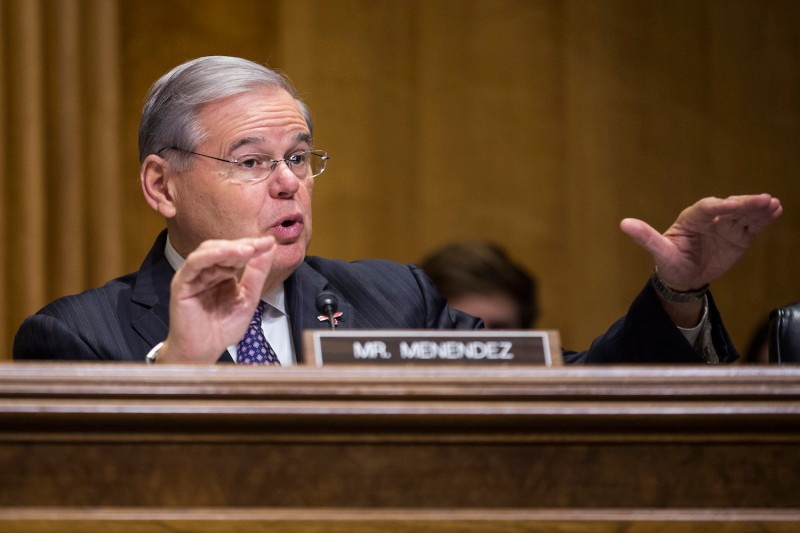 Sen. Bob Menendez (D-N.J.) speaks during a Senate Foreign Relations Committee on Capitol Hill in Washington, D.C. on Feb. 15, 2017 (Zach Gibson/AFP/Getty Images)