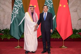 Chinese Premier Li Keqiang (R) shakes hands with Saudi Arabia's King Salman bin Abdulaziz Al Saud (L) at the Great Hall of the People on March 17, 2017 in Beijing, China. (Photo by Lintao Zhang - Pool/Getty Images)
