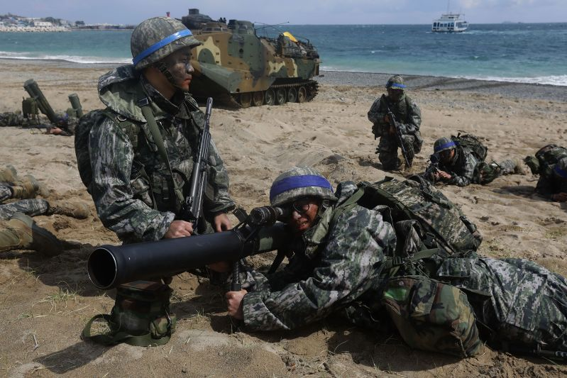 South Korean marines participate in a landing operation at the Foal Eagle joint military exercise in Pohang, South Korea on April 2, 2017. (Chung Sung-Jun/Getty Images)