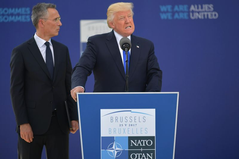 U.S. President Donald Trump (right) delivers a speech with NATO Secretary-General Jens Stoltenberg at NATO headquarters in Brussels on May 25, 2017.  (Mandel Ngan/AFP/Getty Images)