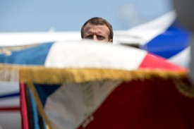 French President Emmanuel Macron at the Felix Eboue Airport of Cayenne, in French Guiana, on October 26, 2017. (RONAN LIETAR/AFP/Getty Images)