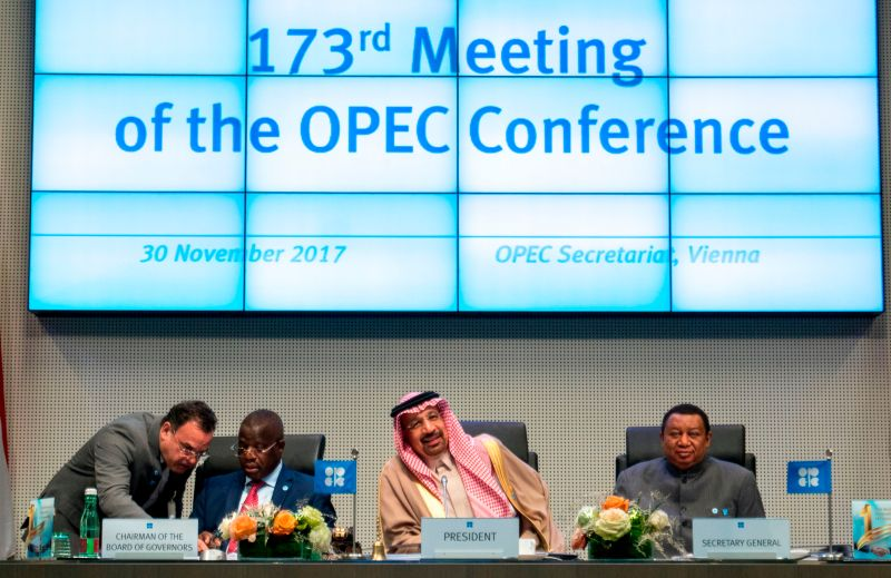 OPEC Conference President Saudi Arabia's Energy Minister Khaled al-Falih (2ndR), OPEC  Secretary General Mohammed Barkindo (R) and Angola's Governor for OPEC and Chairman of the Board of Governors Estevao Pedro (2nd L) the 173rd OPEC Conference of Organization of the Petroleum Exporting Countries (OPEC) in Vienna, on November 30, 2017. (Joe Klamar/AFP/Getty Images)