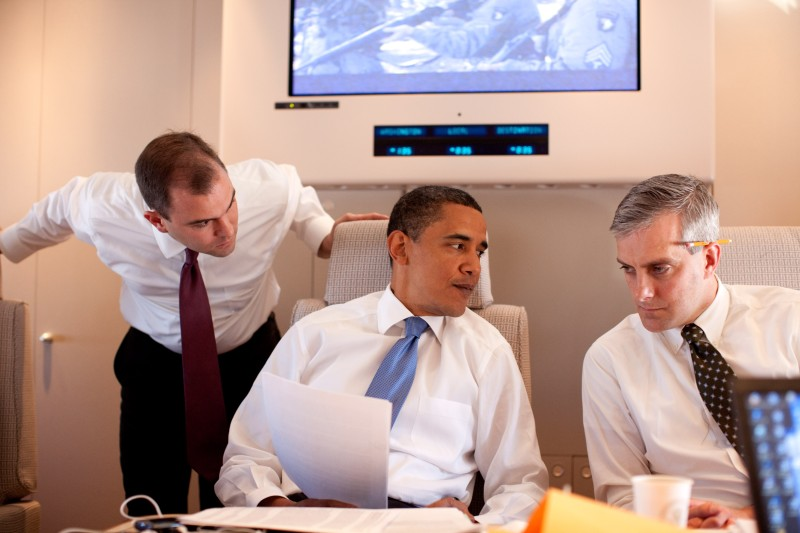 President Barack Obama meets with Deputy National Security Advisor for Strategic Communications Denis McDonough and speechwriter Ben Rhodes on Air Force One on June 4, 2009 on route to Cairo, Egypt. (Pete Souza/The White House via Getty Images)