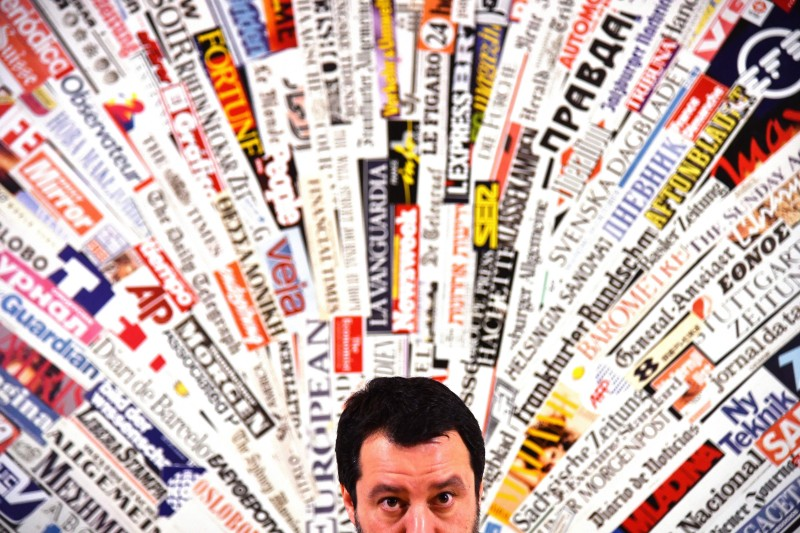 Matteo Salvini answers questions at the Foreign Press Association in Rome on February 22, 2018.  (ALBERTO PIZZOLI/AFP/Getty Images)