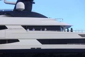 Indonesian officials boarded the luxury yacht 'Equanimity', reportedly worth some $250 million and owned by Jho Low, a former unofficial adviser to the Malaysian fund 1MDB, at Benoa Bay in Bali on February 28, 2018. (RULLY PRASETYO/AFP/Getty Images)