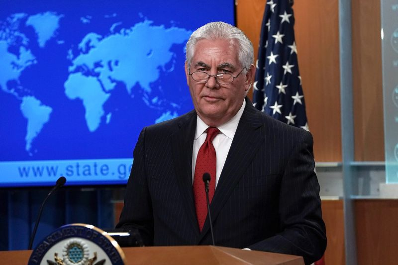 Outgoing U.S. Secretary of State Rex Tillerson makes a statement on his departure from the State Department March 13. (Alex Wong/Getty Images)