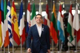 Greek Prime Minister Alexis Tsipras arrives at the European Council summit in Brussels on March 22. (Jack Taylor/Getty Images)
