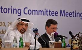 Saudi Energy Minister Khalid al-Falih and Russian Energy Minister Alexander Novak at an OPEC meeting in Jeddah, Saudi Arabia on April 20. (Amer Hilabi/AFP/Getty Images)