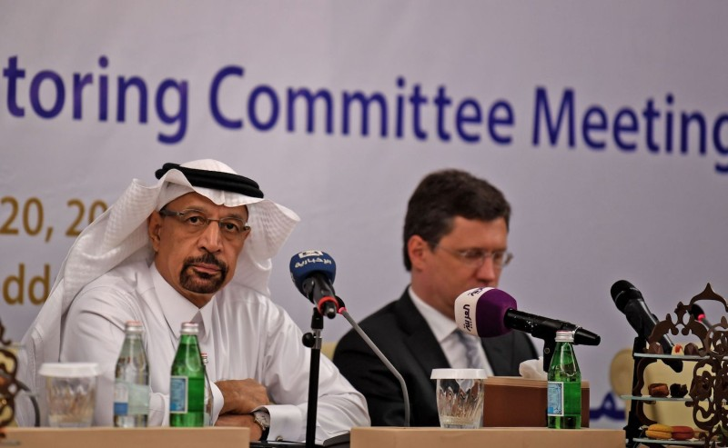Saudi Energy Minister Khalid al-Falih and Russian Energy Minister Alexander Novak at an OPEC meeting in Jeddah, Saudi Arabia on April 20. (Amer Hilabi/AFP/Getty Images)
