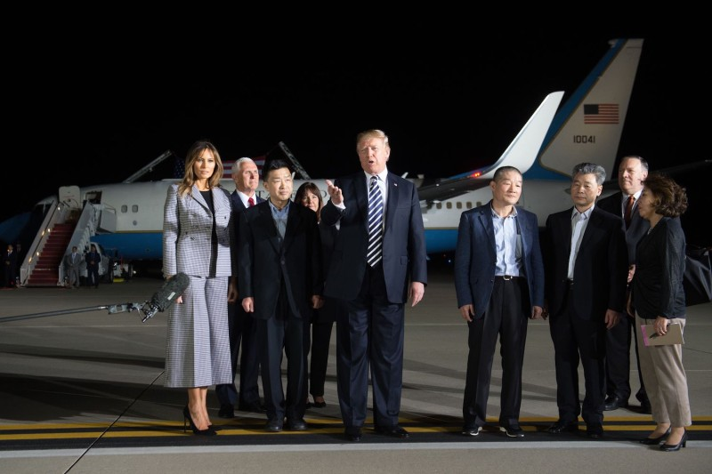 U.S. President Donald Trump speaks upon the return of American detainees Kim Dong Chul, Kim Hak Song, and Tony Kim after they were released by North Korea, at Joint Base Andrews in Maryland on May 10. (Saul Loeb/AFP)