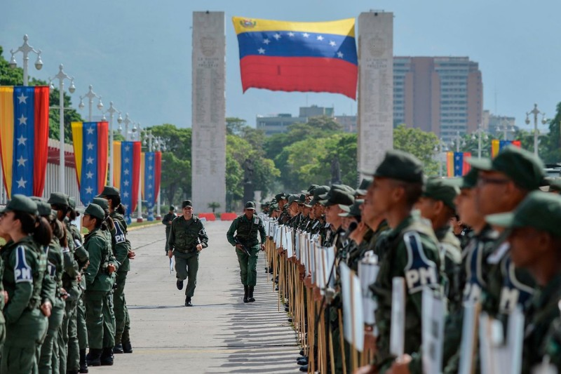 Members of the Venezuelan National Guard take part in a ceremony on May 15, ahead of the May 20 presidential election, in Caracas. (Luis Robayo/AFP/Getty Images)