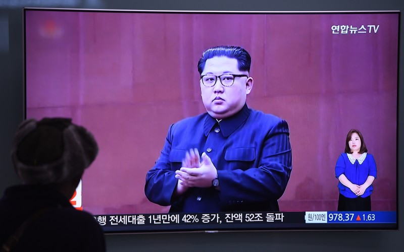 A man watches a television news screen showing North Korean leader Kim Jong Un at a railway station in Seoul on May 16, 2018. (JUNG YEON-JE/AFP/Getty Images)