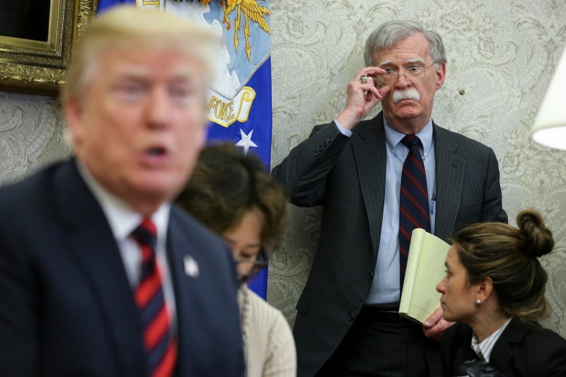 U.S. President Donald Trump and National Security Advisor John Bolton during a meeting with South Korean President Moon Jae-in at the White House on May 22, 2018.