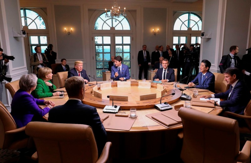 G-7 leaders participate in a working session in Quebec, Canada, on June 8. (Ludovic Marin/AFP/Getty Images)