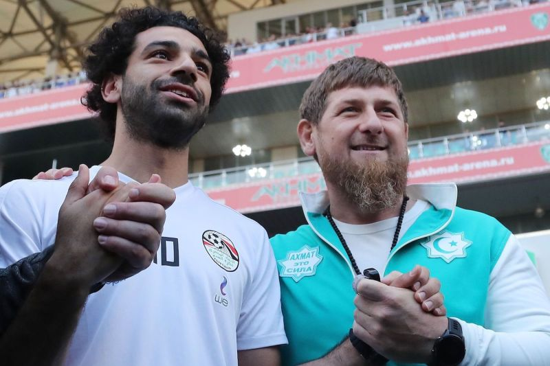 The Egyptian national team's star striker Mohamed Salah, left, and Chechen leader Ramzan Kadyrov pose in Grozny, Chechnya, on June 10, ahead of the 2018 World Cup in Russia. (Karim Jaafar/AFP/Getty Images)