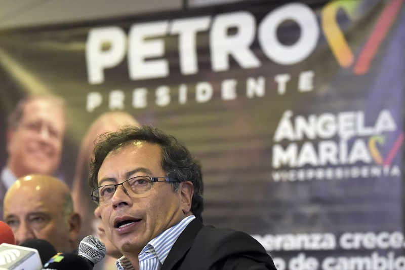 Colombian presidential candidate Gustavo Petro at a press conference in Bogotá on June 14. (Raul Arboleda/AFP/Getty Images)