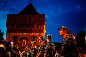 Russian security officers stand guard at the Fan Fest zone in Nizhny Novgorod, one of the host cities of the Russia 2018 World Cup, on June 19. (Dimitar Dilkoff/AFP/Getty Images)