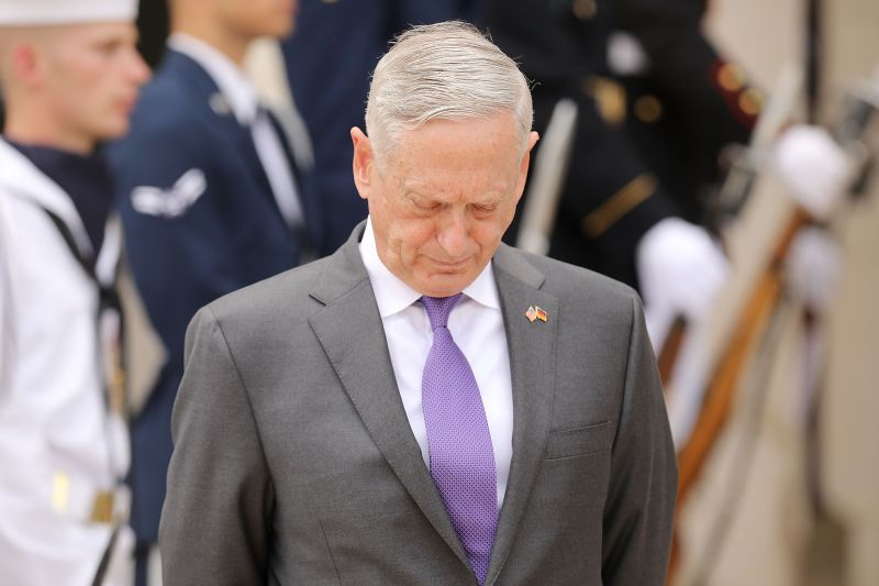 Defense Secretary James Mattis waits for the arrival of German Defense Minister Ursula von der Leyen outside the Pentagon June 20, 2018 in Arlington, Virginia. (Chip Somodevilla/Getty Images)