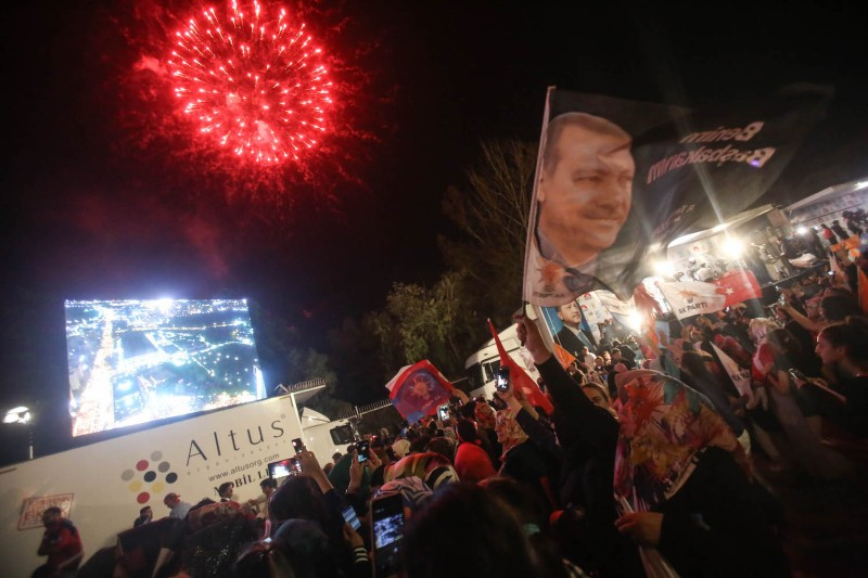 Supporters of Turkey's President Recep Tayyip Erdogan listen to him give remarks as they gathered in front of the AK Party headquarters on June 25, 2018 in Ankara, Turkey.  Mustafa Kirazli/Getty Images