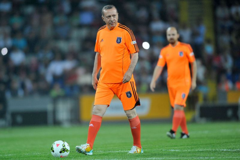Turkish leader Recep Tayyip Erdogan plays soccer during an exhibition match at the Basaksehir stadium on July 26, 2014, in Istanbul. (Ozan Kose/AFP/Getty Images)
